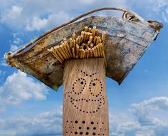 insect nesting aid insect hotel  wildbee drilled hole hardwood oak wood Nisthilfe Insektennisthilfe Bohrungen Hartholz Eiche