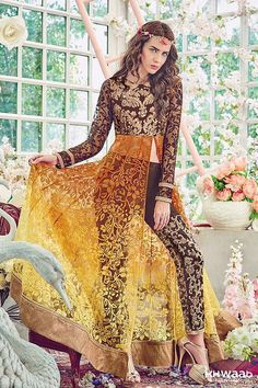 RARE IN BROWN AND YELLOW PERFECT AND PRETTIEST CUTTING EDGE STYLE DESIGNER OUTFITS JINAAM 4011 - KHWAAB LONDON - 1943 - Khwaab London