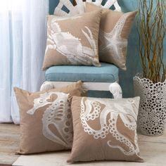 Sealife Embroidered Throw Pillow