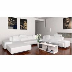White Leather Couch and wood floors. Don't think I could get away with having all white furniture with kids. My ideal would be that, with blue accents and green plants in the space.