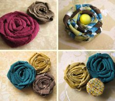 Fabric Rosette tutorial-- **Rachel** I made several of these over the weekend and glued to bobby pins.  Very cute and sooo easy to make.  I'm going to try using fabric glue in the future to avoid burnt fingers!