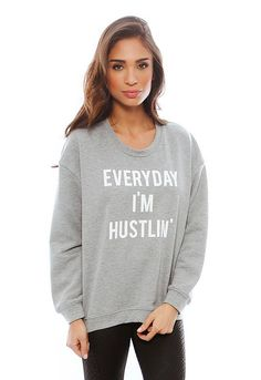 Hustlin' Sweatshirt in Grey Marle - designed by Style Stalker