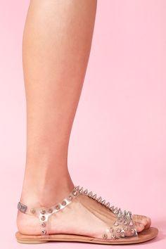 Puffer Spike Sandal in Clear