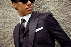Balla striped suit - A smooth bellwether. #atruebellwether #bellwetherstyle #gq