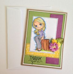Thank you Card  Serene Girl in the Bush/Woods  by JessideeHandmade