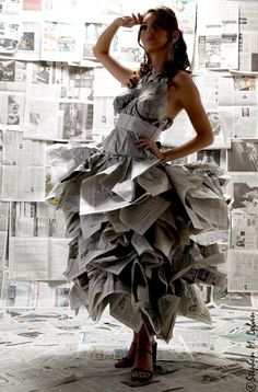 a dress made from newspapers