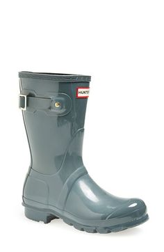 Free shipping and returns on Hunter 'Original Short' Gloss Rain Boot (Women) at Nordstrom.com. Comfort and quality combine in a glossy, water-tight rubber boot finished with a traction-gripping sole. A subtle tonal design circles the top, while an adjustable buckle at the side adds interest.