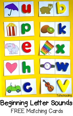 Sounds: Free Matching Cards Beginning Letter Sounds: Free Matching Cards. Great literacy center or ABC game.Beginning Letter Sounds: Free Matching Cards. Great literacy center or ABC game. Preschool Letters, Learning Letters, Preschool Learning, Teaching Letter Sounds, Letter Recognition Kindergarten, Letters Kindergarten, Letter Recognition Games, Alphabet Sounds, Spanish Alphabet