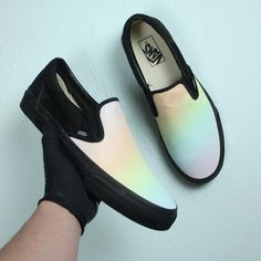 """Searching for custom Vans Slip On shoes for sale? Introducing our """"Pastel Rainbow"""" custom slip on vans for both men and women!"""