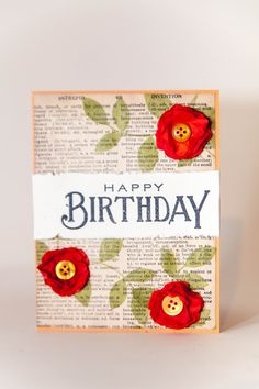 Happy Birthday card - Scrapbook.com. LOVE the ORANGE Flower POP of color!