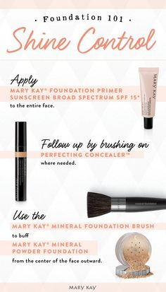 Don't let oily skin bring you down! Mary Kay® Foundation Primer Sunscreen Broad Spectrum SPF 15* contains an oil-free formula that is mineral-enriched to absorb oil and diffuse light and help reduce the appearance of fine lines, wrinkles, and pores. Finish with Mary Kay® Mineral Powder Foundation to control shine and impart a matte finish.