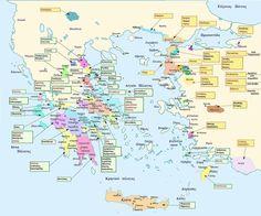 Χάρτης της Ομηρικής Ελλάδας (Map of Homeric Greece). Με πράσινο πλαίσιο απεικονίζονται οι χώρες των Ελλήνων ηγετών και με πορτοκαλί οι χώρες των Τρώων και των συμμάχων τους