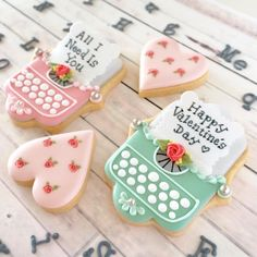 Adorable Summer Cookies, Fancy Cookies, Iced Cookies, Cute Cookies, Cupcakes, Cupcake Cookies, Valentines Sweets, Valentines Day Cookies, Chocolates