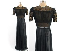 Vintage 40s EVENING GOWN / Dramatic Early 1940s Sheer Black Silk Dress with Metallic Embroidery & Amber Rhinestones S #40s #40sgown #gown #metallic #embroidered #rhinestone #silk #black #sheer