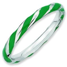 Sterling Silver Stackable Expressions Twisted Green Enameled Ring * Remarkable product available now. : Jewelry Rings Stacking
