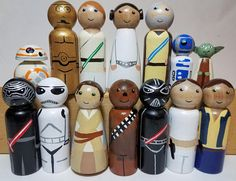 Turn your home into a galaxy far far away with our Star Wars inspired peg doll set.Add these to your wooden blocks, dollhouse or as a stand alone toy to inspire years of pretend play. This these peg dolls are hand painted with wonderful attention to detail. The Star Wars peg people