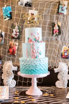 Gorgeous cakescape from Mermaids & Pirates Birthday Party at Kara's Party Ideas. See the whole shindig at http://karaspartyideas.com!