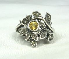 Vintage Citrine Marcasite Ring Sterling Silver 8 by TheFashionDen, $30.00