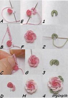 Embroidered bullion roses Tutorial ~ Tecnica chiaccherino con l'ago