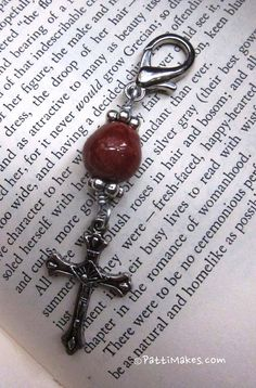Cross Zipper Pull With Brown Handmade Ceramic Bead by PattiMakes, $12.00