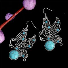 ... earrings fashion Suppliers  H HYDE Nice Shipping Vintage Bohemia Style  Silver Color Butterfly Natural Stone Dangle Earrings Fashion Jewelry for  Women d528da32d03e