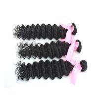 3pcs/lot,5A Queen Hair, Brazilian Virgin Deep Hair, Remy Hair ,Human Hair ,Natural Color 1B ,Tangle Free Shipping