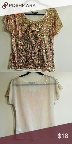 GOLD GLITTER EXPRESS TOP 🌻 Rose Gold and Gold glitter shirt. Mesh ivory back. Express Tops