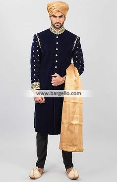 Dark Prussian Blue Wedding Sherwani in Velvet Boxboro Massachusetts US Sherwani Pakistan M843 New Arrivals