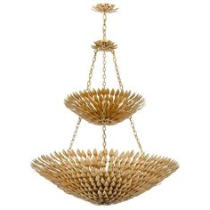 Crystorama Broche 18 Light Antique Gold Leaf Pendant Chandelier
