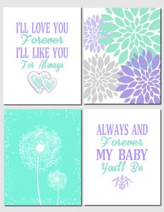 Purple Lavender Green Mint Wall Art Kids Wall Art I'll Love You Forever Dandelions Floral Nursery Art Baby Girl, Set of 4, Art Prints by vtdesigns on Etsy https://www.etsy.com/listing/221131643/purple-lavender-green-mint-wall-art-kids