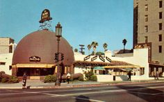 The Brown Derby Restaurant, Los Angeles - the original was opened by Robert H. Cobb and Herbert Somborn on 3427 Wilshere Blvd.  It was opened in 1926.  It is believed that the Cobb salad was created at the Brown Derby  by owner Bob Cobb.  The original restaurant was destroyed by fire in 1987.