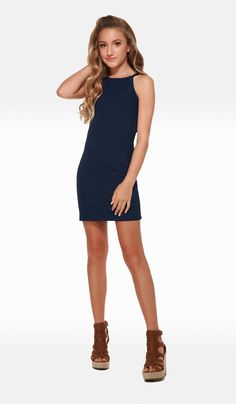 e30395c2eef The Sally Miller Mandy Dress Navy varigated stripe textured stretch knit  body con dress fully lined
