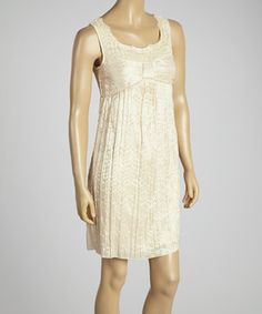 Love this Young Essence Beige Lace Gathered Dress by Young Essence on #zulily! #zulilyfinds