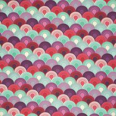 Original tela en tonos morados, rosas y turquesa. Colección Elizabeth diseñada por Tula Pink.