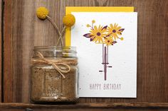 Seeded Letterpress Card  Bicycle Floral Happy by ruffhouseart