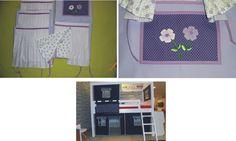 Conjunto de casinha na sarja lilás: 4 janelas com bolso no tricoline lilás escuro poá com aplicação de flores e 1 porta com janela. Fabric house: 4 windows and 1 door with window.