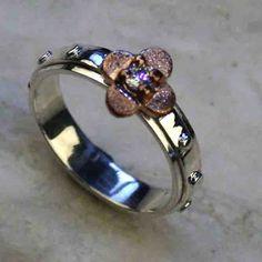 14K rose gold rosary ring
