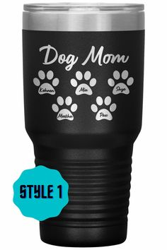 Personalized Tumbler w/ Your Dog's Name - Dog Mom Tumbler – Kai's Ruff Wear Personalized Dog Mom Tumbler. Get the names of your dogs on this custom tumbler in a variety of colors. It is available in 2 styles as well. This tumbler cup perfect for any liquid, hot or cold. *ALL PURCHASES HELP FEED ANIMALS IN NONPROFIT SHELTERS AND RESCUES* 30oz. Dog Dad Gifts, Gifts For Dog Owners, Dog Lover Gifts, Dog Lovers, Personalized Tumblers, Custom Tumblers, Dog Mom Shirt, Mom Shirts, Online Dog Training