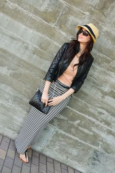 Recently bought a skirt like this. Fedora/ Peach top/ Leather Blazer. Great Transition into fall idea.