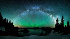 Great picture of the Milky Way arching over Crater Lake Oregon ...