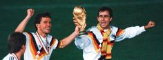 Lothar Matthäus (l.),and Pierre Littbarski: World Cup winners for Germany