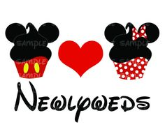 Cupcakes Mickey and Minnie Newlyweds Printable Image DIY Disney Iron Transfer Pillowcase Mr and Mrs Just Married Disney Wedding Honeymoon