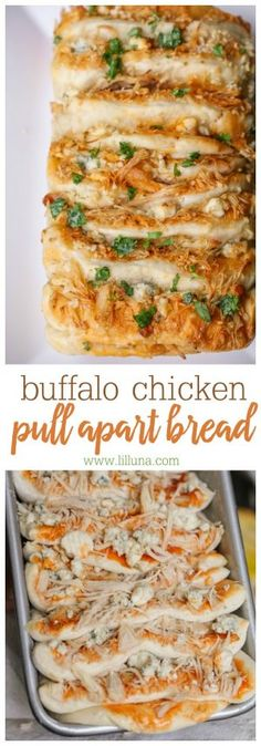Buffalo Chicken Pull Apart Bread - the most amazing appetizer with a kick! Bread dough sliced into pull apart pieces, covered in buffalo sauce, chicken and bleu cheese! YUM!