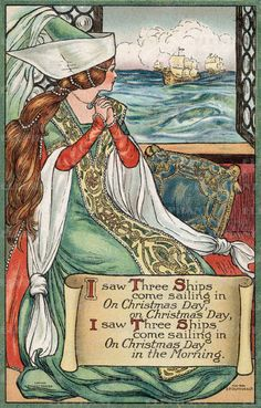 """I Saw Three Ships Come Sailing In"" illustration by an unknown artist - a favorite Christmas song"