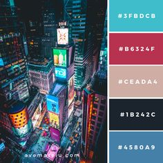 Times Square, New York, United States Color Palette – Ave Mateiu Hex Color Palette, Color Schemes Colour Palettes, Color Combos, Paleta Pantone, Crea Design, Design Seeds, Color Swatches, Color Theory, Pantone Color