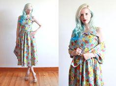 1940s dress / 40s sun dress / 1940s floral by FancyLuckyVintage