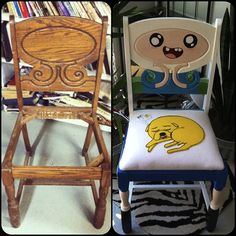Amazing old chair turned into an Adventure Time chair!  - Silla vieja convertida en una silla de Hora de Aventuras