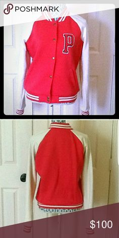 """NW0T,LIMITED EDITION VS LETTER JACKET/UNIV.JACKET NWOT, """"LIMITED EDITION""""NEVER BEEN WORN, IN PERFECT CONDITION..NO FLAWS@ ALL...Beautiful Victoria Secret University / letter jacket in a beautiful popping pink with white trim & white sleeves..also has the letter 'P' on the front for """"PINK University """" fits awesome, size small. Brand New, cute and warm. Perfect for this winter..great item for all of u PINK FANATICS, 💖💘LIKE MYSLEF..LOL Victoria's Secret Jackets & Coats"""