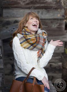 Plaid Flannel Blanket Scarf - Autumn Blend - Funky Money