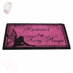 "Gothic Door Mat, Protected by Fairy Magic Dorrmat. This great gothic doormat has has pink bristles and text of ""Protected by Fairy Magic"" Madrid Barcelona, Star Wars Shop, Magic S, Fantasy, Funko Pop Vinyl, Moon Child, Faeries, Gothic, Marvel"
